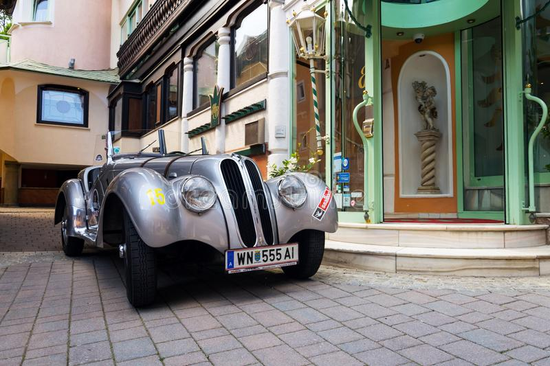 Vintage car BMW 328 roadster oldsmobile veteran produced from 1936 to 1940. SAALBACH-HINTERGLEMM, AUSTRIA - JUNE 21 2018: Vintage car BMW 328 roadster oldsmobile royalty free stock photo