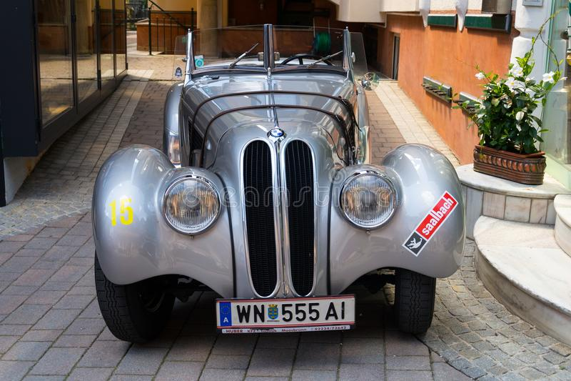 Vintage car BMW 328 roadster oldsmobile veteran produced from 1936 to 1940. SAALBACH-HINTERGLEMM, AUSTRIA - JUNE 21 2018: Vintage car BMW 328 roadster oldsmobile stock photo