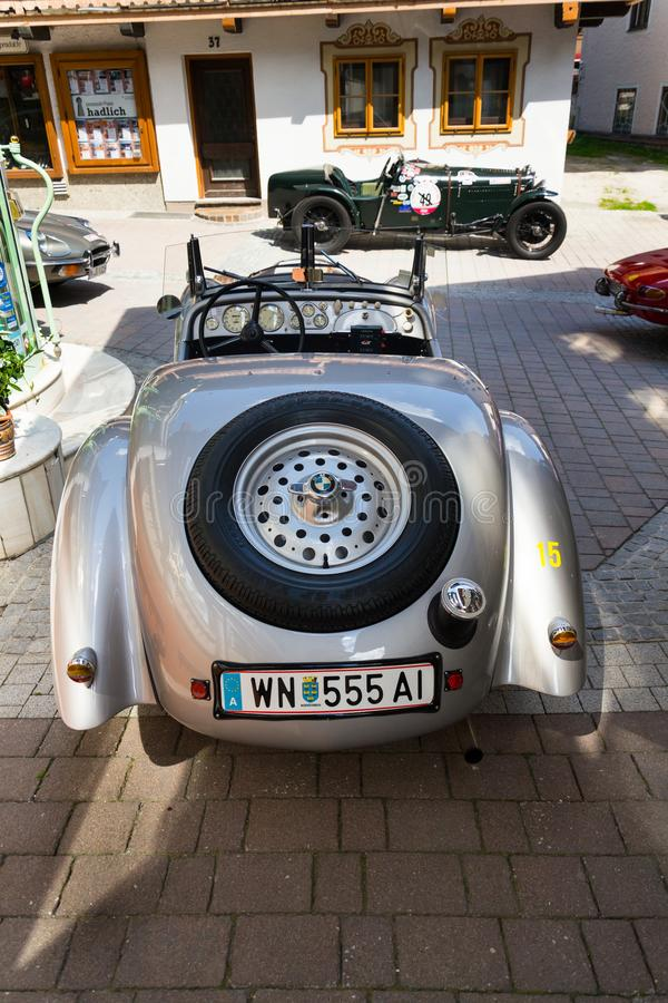Vintage car BMW 328 roadster oldsmobile veteran produced from 1936 to 1940. SAALBACH-HINTERGLEMM, AUSTRIA - JUNE 21 2018: Vintage car BMW 328 roadster oldsmobile royalty free stock images