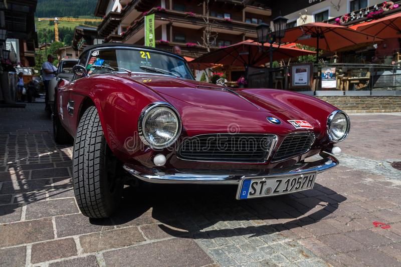 Vintage car BMW 507 roadster oldsmobile veteran produced from 1956 to 1959. SAALBACH-HINTERGLEMM, AUSTRIA - JUNE 21 2018: Vintage car BMW 507 roadster oldsmobile royalty free stock photography