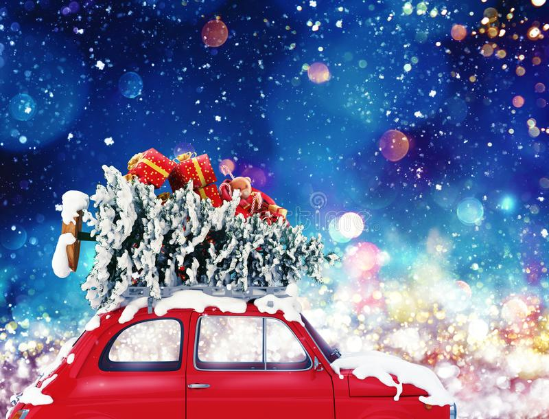 Vintage car with Christmas tree and presents with night light. 3d rendering. Vintage car with Christmas tree and presents with night light effect. 3d rendering royalty free illustration