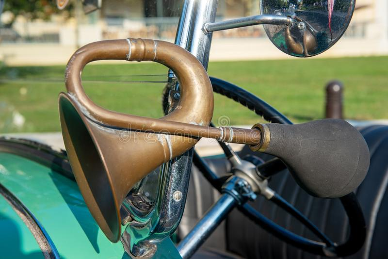 Vintage car detail, antique air horn royalty free stock image