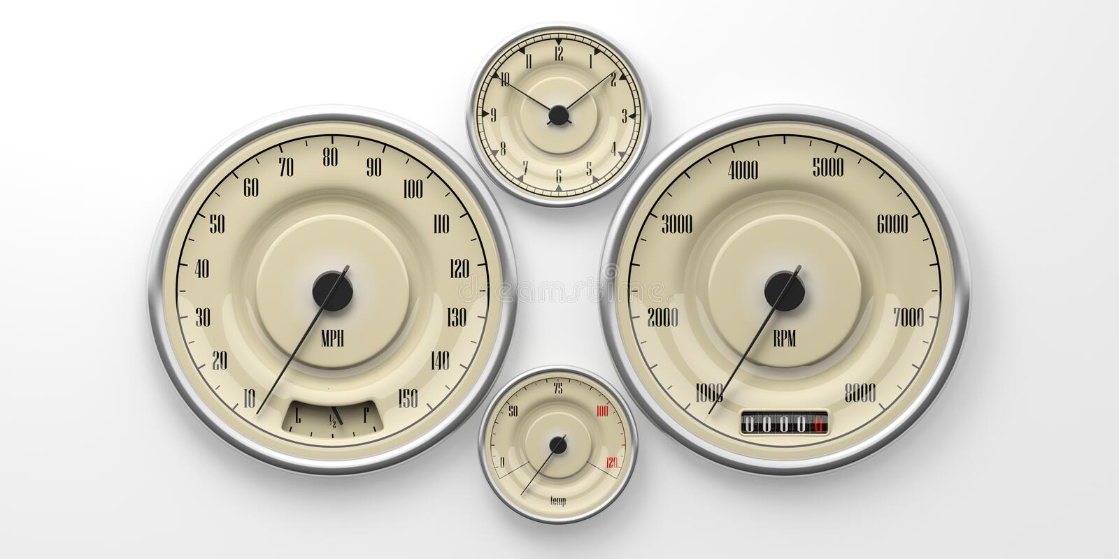Vintage car gauges isolated on white background. 3d illustration stock images