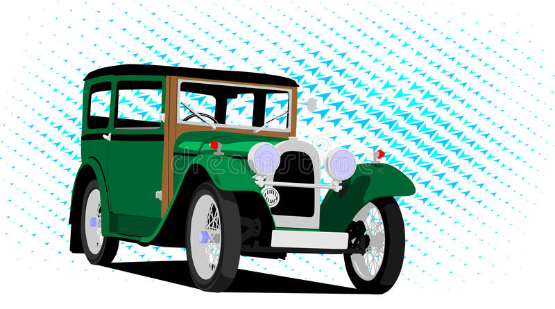 Download Vintage car green stock vector. Image of headlight, vector - 29682947