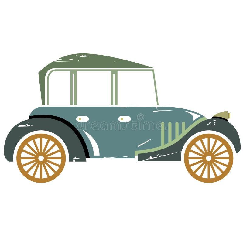 Vintage car. Green vintage car, classic car in grunge style stock illustration