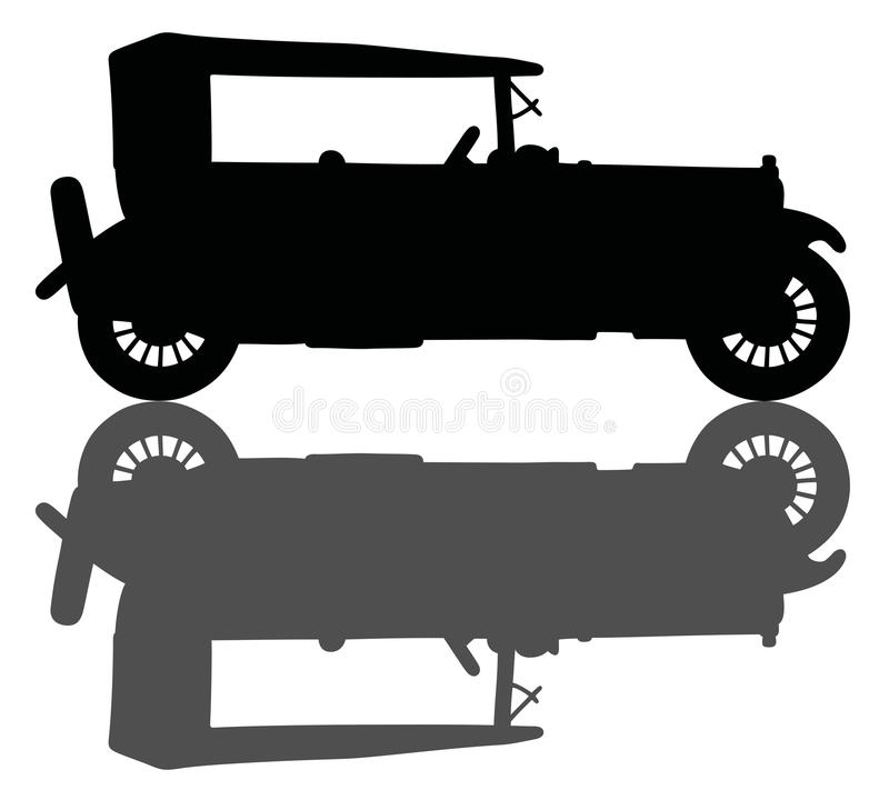 Vintage car. Hand drawing of a black silhouette of a vintage car with a shadow stock illustration