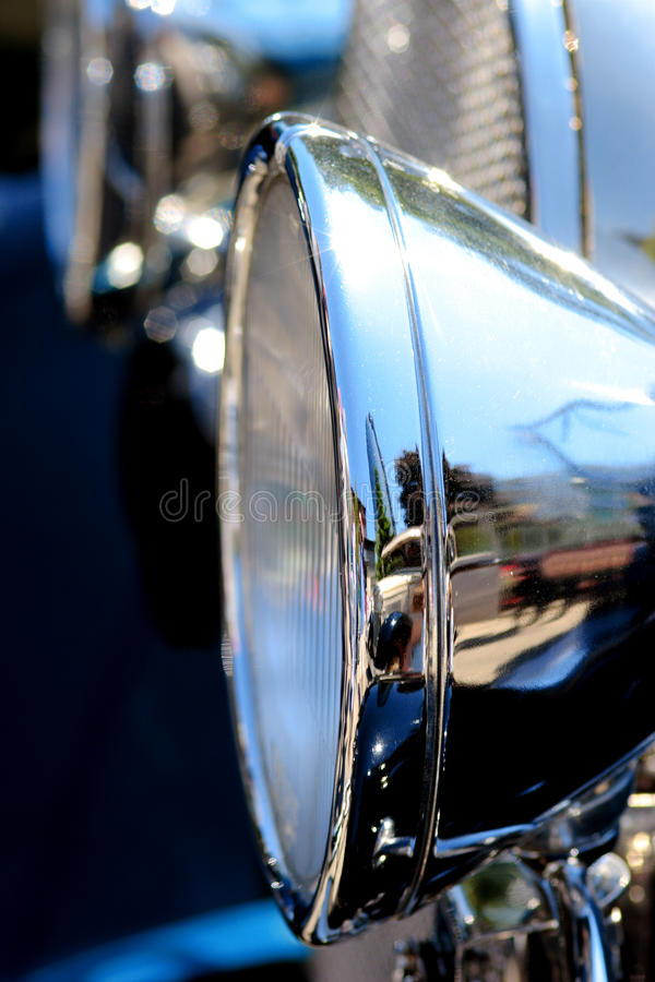 Vintage car headlamp stock photo