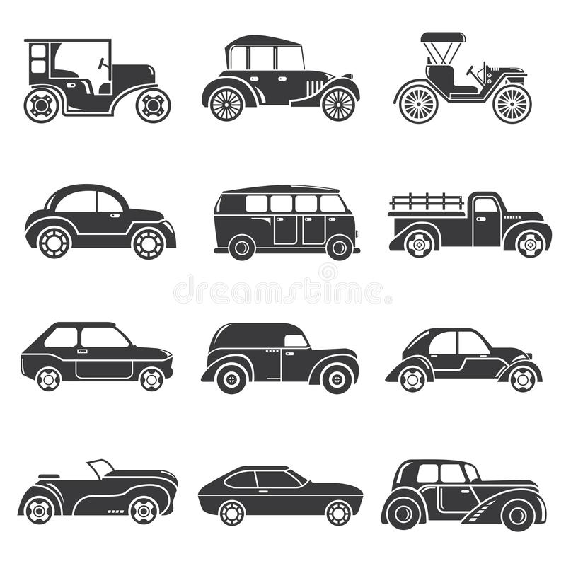Vintage car icons royalty free illustration