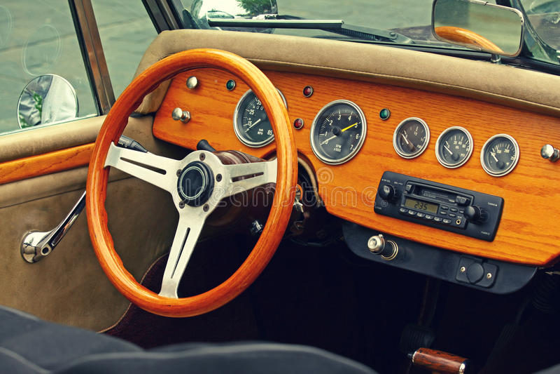 Vintage car interior stock photography
