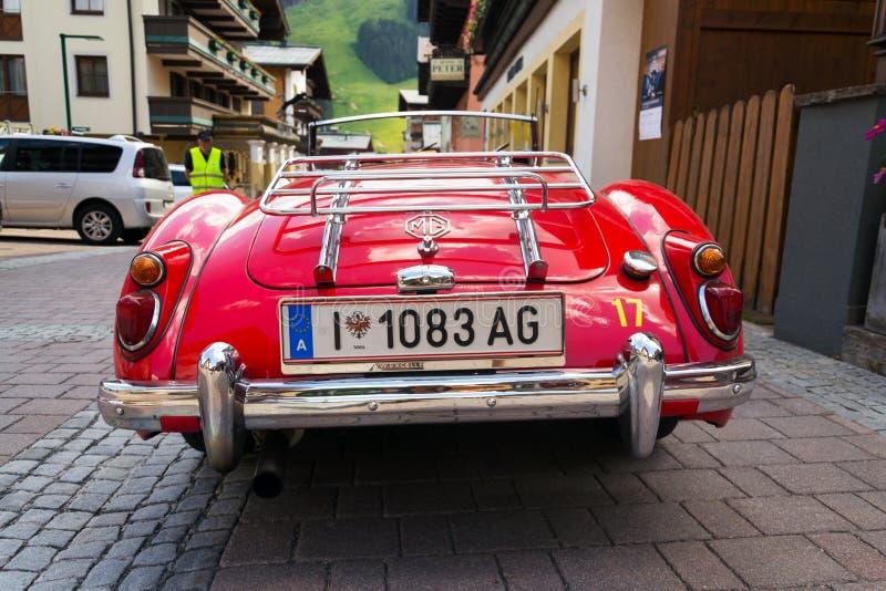 Vintage car MG MGA 1600 roadster oldsmobile veteran. SAALBACH-HINTERGLEMM, AUSTRIA - JUNE 21 2018: Vintage car MG MGA 1600 roadster oldsmobile veteran preparing royalty free stock image