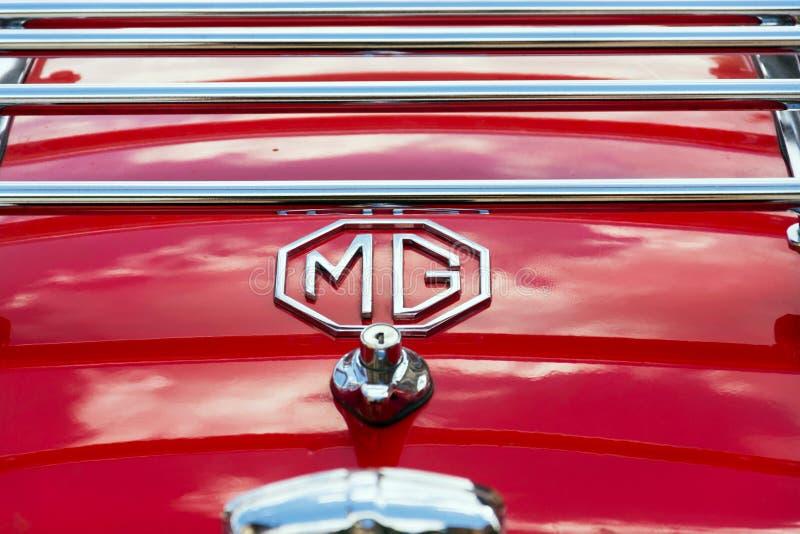 Vintage car MG MGA 1600 roadster oldsmobile veteran. SAALBACH-HINTERGLEMM, AUSTRIA - JUNE 21 2018: Vintage car MG MGA 1600 roadster oldsmobile veteran preparing royalty free stock images