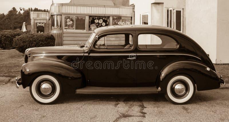 Download Vintage Car At Old Diner Sepia Toned Royalty Free Stock Image - Image: 25782876