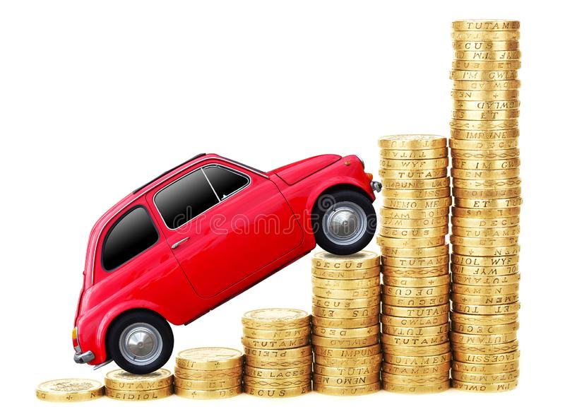 Vintage car on pile of golden coins on white background.  stock photo