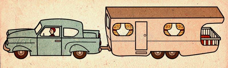 Vintage car pulling mobile home