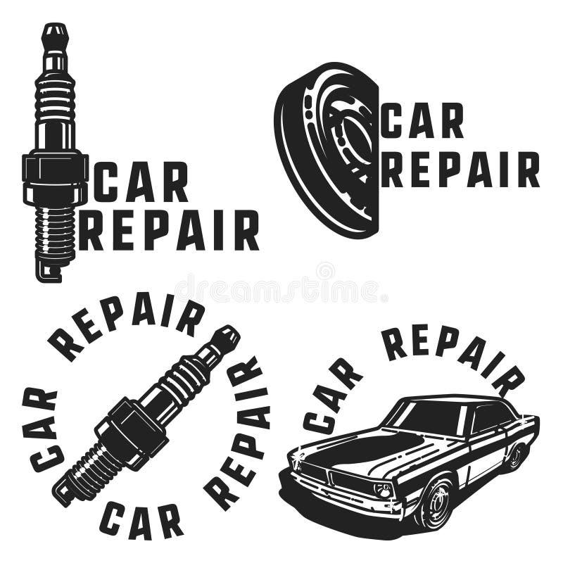 Vintage car repair emblems vector illustration