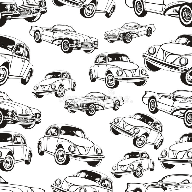 Download Vintage Car Seamless Pattern Black And White Retro Cartoon Background Coloring Book