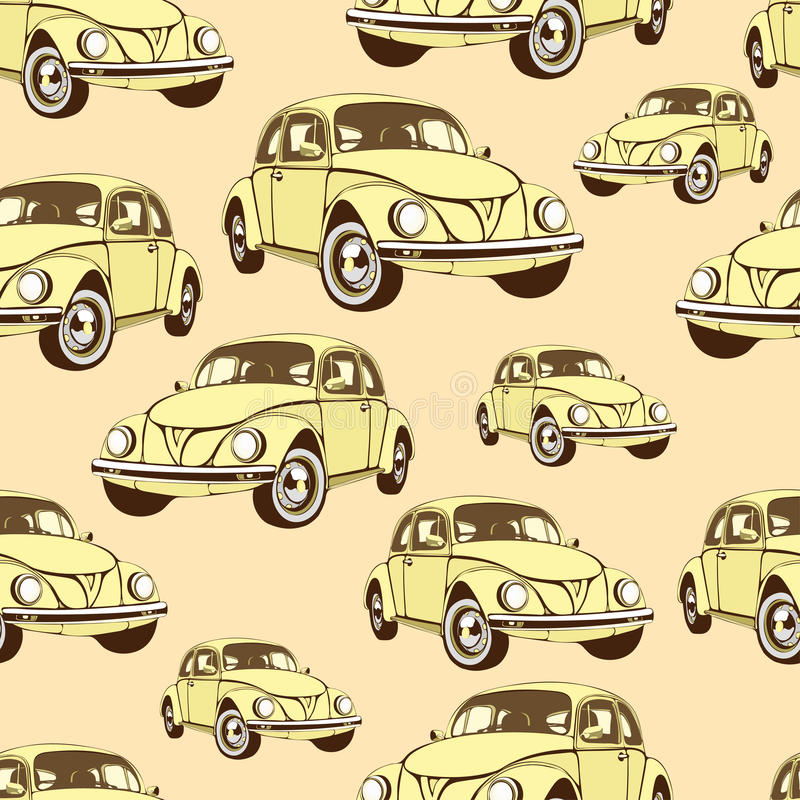 Vintage car seamless pattern, retro cartoon background. Yellow cars on the beige . For the design of wallpaper, wrapper, fabric. vector illustration