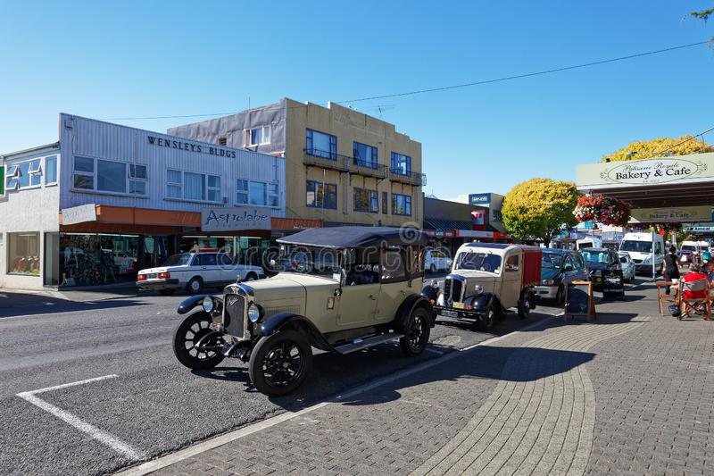 Vintage car show in Motueka High Street in front of the museum stock images