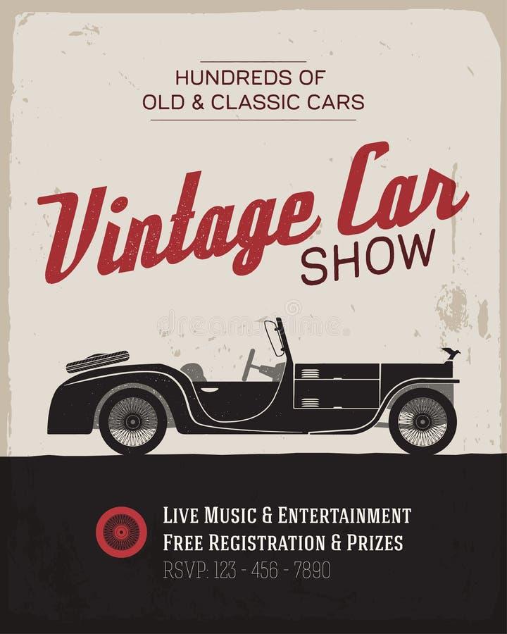 Vintage car show poster template. Vintage car show label template. Vector illustration royalty free illustration