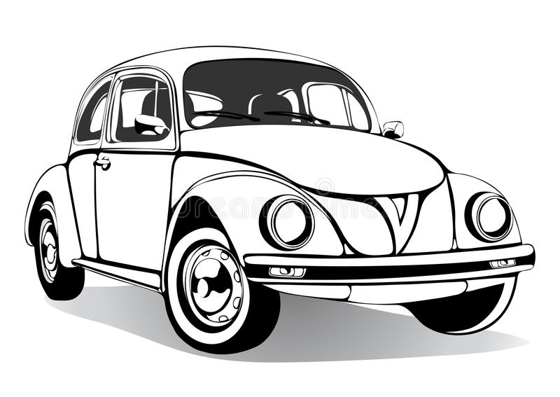 Download vintage car sketch coloring book black and white drawing monochrome retro
