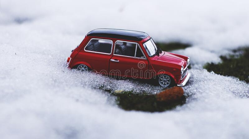 Vintage Car on Snow royalty free stock photo