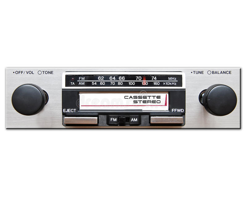 Vintage car stereo. Isolated on white stock photo