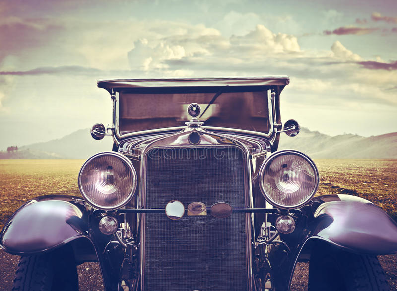 Vintage Car in a Sunny Desert stock photo
