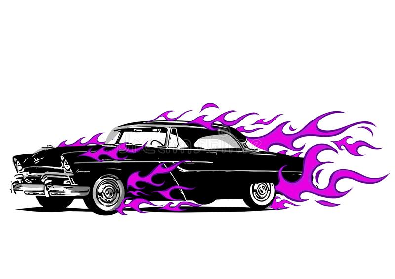 Vintage car surrounded by fire and purple flames. Car surrounded by fire and purple flames vector illustration