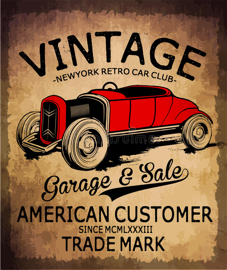 Vintage Car Tee Graphic Design Stock Vector Image 73007910