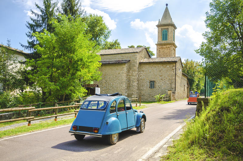 Vintage car travel italy countryside church royalty free stock images