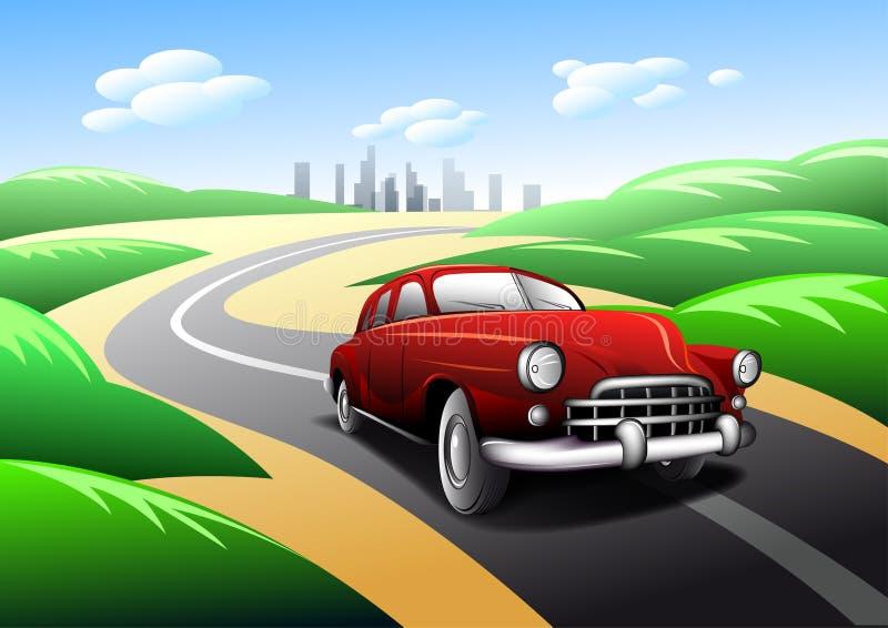 Download Vintage Car Traveling On Road Stock Vector - Image: 28086736