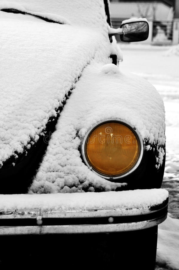 Vintage car in winter stock photography