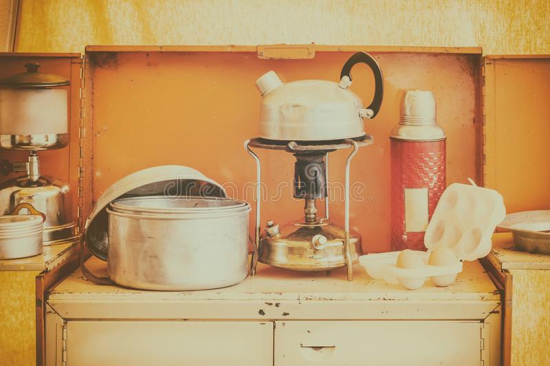 Vintage caravan kitchen interior with stove and kettle stock photos