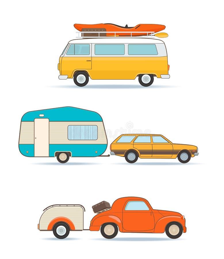 Vintage Caravans and Cars vector illustration