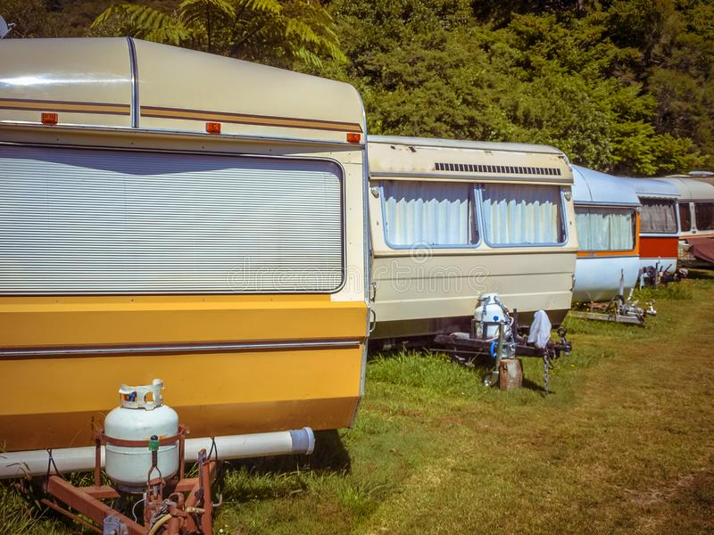 Vintage Caravans in a Row stock photo