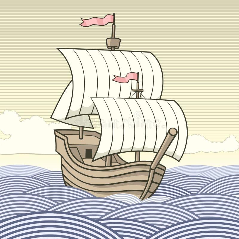 Old-time sailing ship