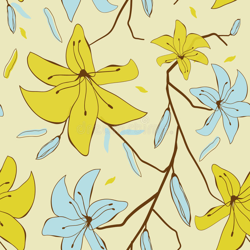Download Vintage Card With Abstract Lily Flowers Stock Vector - Image: 21742465