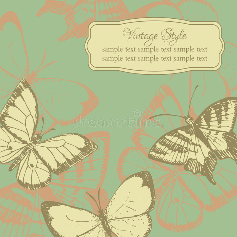 Vintage card with butterflies. Vector illustration stock illustration