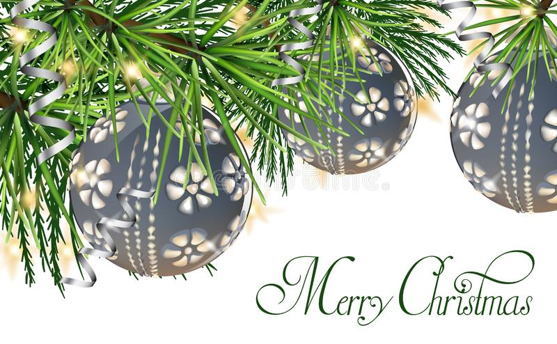 Vintage card with Christmas balls on fir tree Vector. Merry Christmas background Vector. Happy Holidays cards royalty free illustration