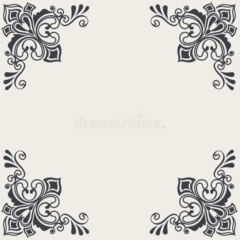 Vintage card with corner floral decoration. Vector illustration royalty free illustration