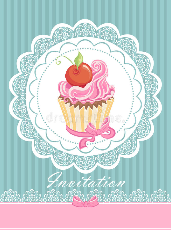 Vintage card with cupcake vector illustration