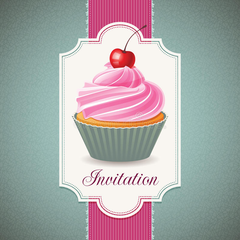 Download Vintage card with cupcake stock vector. Illustration of card - 32993496