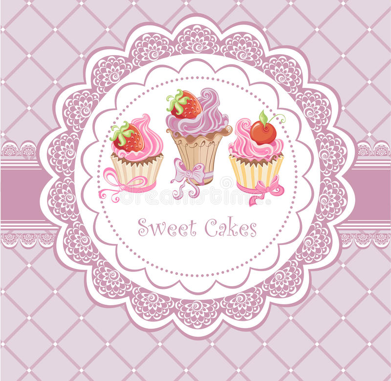Vintage card with cupcakes vector illustration