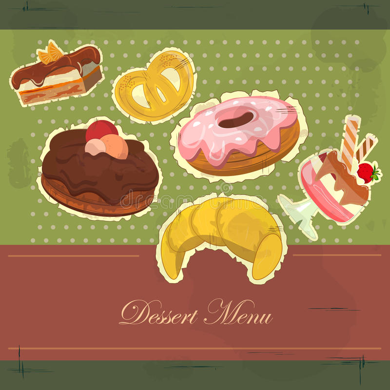 Vintage Card With Dessert Royalty Free Stock Image