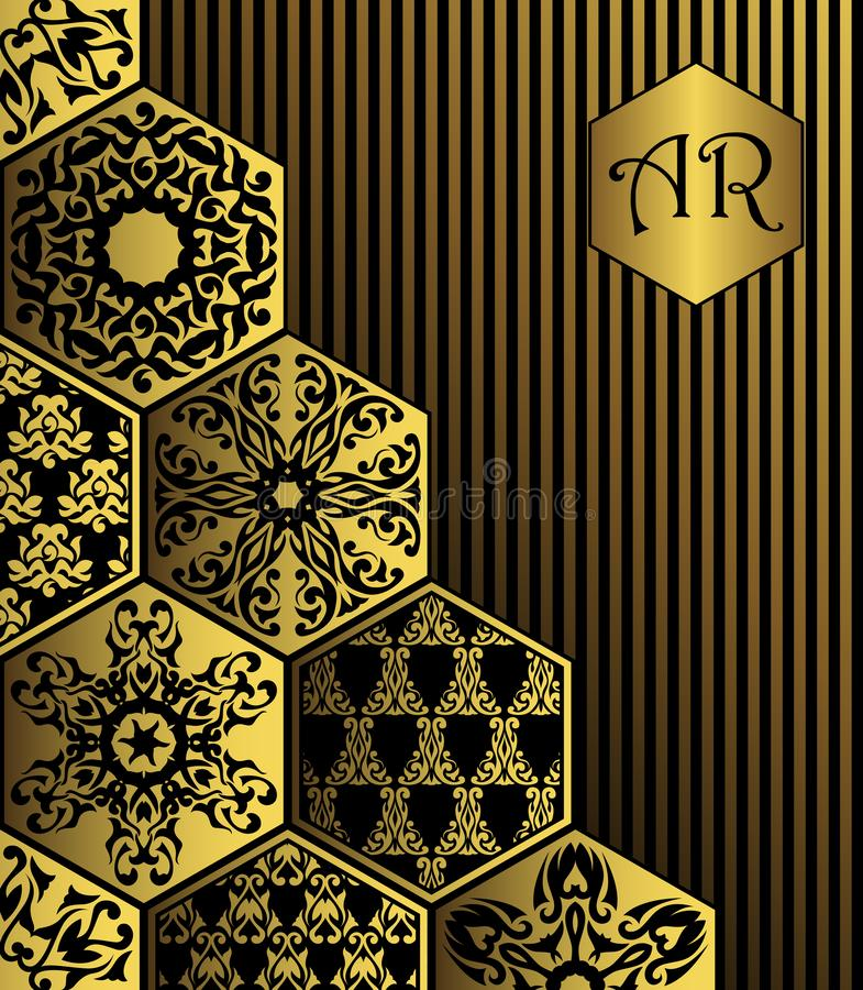 Vintage card with diamond gold ornament. Striped background. Luxury design royalty free illustration
