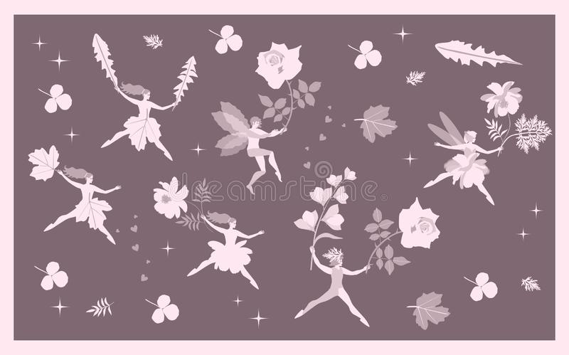 Vintage card with fairies and elves, flowers and leaves. Fantasy vector illustration.  stock illustration