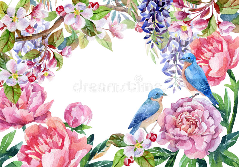 Download Vintage Card With Flowers And Birds Spring Background Stock Illustration
