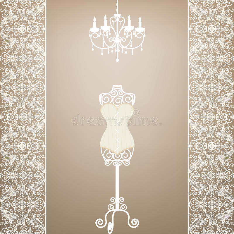 Mannequin and chandelier. Vintage card with mannequin and chandelier with lace border royalty free illustration