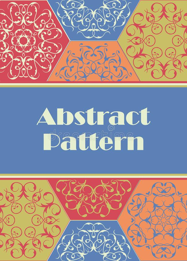 Vintage Card on patchwork pattern from abstract tiles. Ornaments. Place for text royalty free illustration