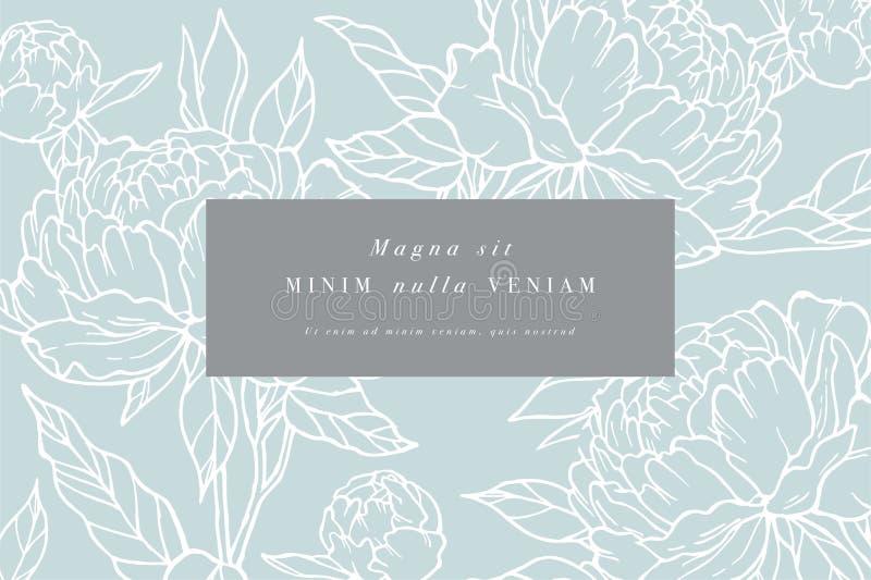 Vintage card with peony flowers. Floral wreath. Flower frame for flowershop with label designs. Summer floral rose stock illustration
